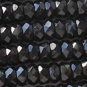 4x8mm Black Faceted Rondelle Beads [50]