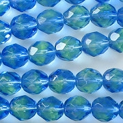 8mm Sapphire/Green Faceted Round Beads [50]