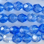 6mm Sapphire/Clear Faceted Round Beads [50]