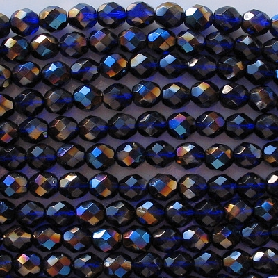 8mm Cobalt Blue Vitrail Faceted Round Beads [50]