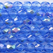 6mm Medium Sapphire AB Faceted Round Beads [50]