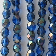 6mm Sapphire Blue Celsian Faceted Round Beads [50]