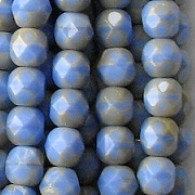 6mm Opaque Blue/Taupe Faceted Round Beads [50]