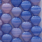 9mm Blue/Pink Striped Shell Beads [50]
