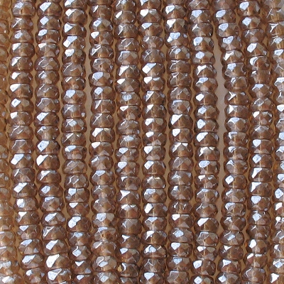 3x6mm Brown Luster Faceted Rondelle Beads [50]