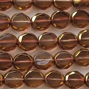 8mm Brown/Gold 2-Cut Faceted Beads [25]