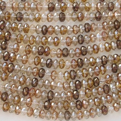 4x7mm Brown Mixed Faceted Rondelle Beads [50]