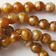 6mm Brown 'Agate' Round Beads [50]