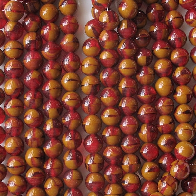 8mm Ruby Red/Brown Umber Round Beads [50]