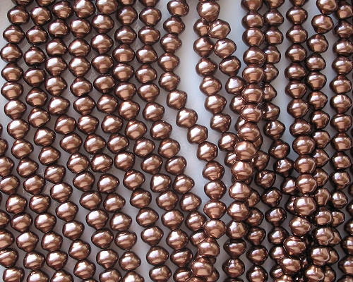 6mm Dark Bronze Snail-Shell Glass Pearls [50]