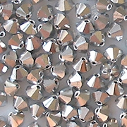 4mm Silver-Colored Cut-Crystal Bicone Beads [50]