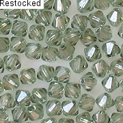 4mm Light Prairie Green Luster Cut-Crystal Bicone Beads [50]