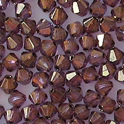 4mm Amethyst/Gold Cut-Crystal Bicone Beads [50]