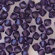 4mm Tanzanite Cut-Crystal Bicone Beads [50]