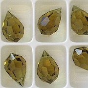 15mm 'Gold Beryl' Cut-Crystal Teardrop Beads [5]