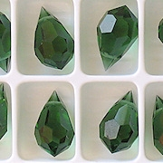 15mm Turmaline Green Cut-Crystal Teardrop Beads [5]