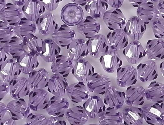 4mm Amethyst Purple Coated Cut-Crystal Bicone Beads [50]