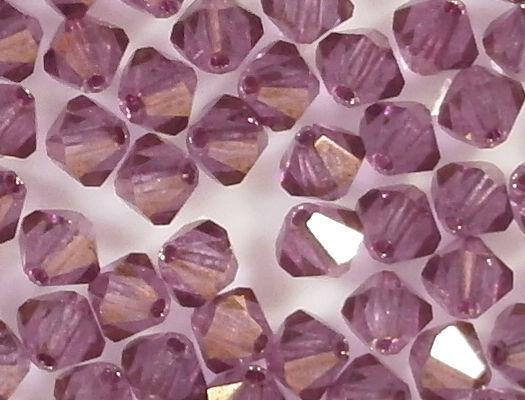 4mm Medium Amethyst/Gold Cut-Crystal Bicone Beads [50]