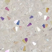 4mm Clear AB Cut-Crystal Bicone Beads [100]