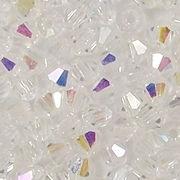 4mm Clear AB Cut-Crystal Bicone Beads [100]