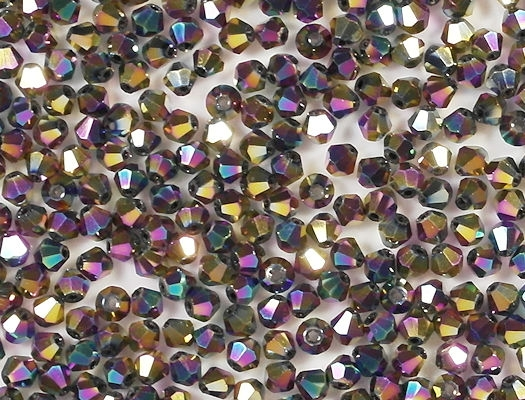 4mm Multicolored Metallic Cut-Crystal Bicone Beads [100]