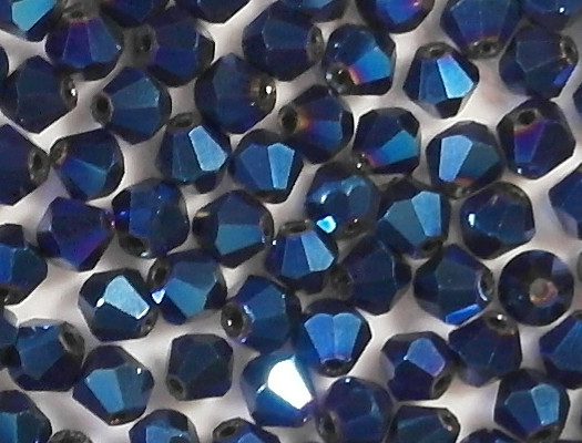 4mm Dark Blue Metallic Cut-Crystal Bicone Beads [100]