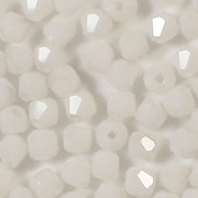 4mm White AB Cut-Crystal Bicone Beads [100]