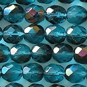 8mm Aqua Vitrail Faceted Round Beads [50] (see Defects)