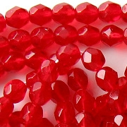 6mm Siam Ruby Red Faceted Round Beads [50]