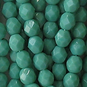 6mm Greenish-Turquoise Faceted Round Beads [50] (see Comments)