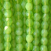 4mm Lime Green Opalescent Faceted Beads [100]