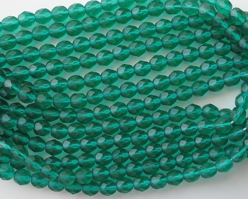 6mm Teal Matte Faceted Round Beads [50]