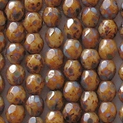 4mm Beige Picasso Faceted Round Beads [100]