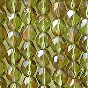 6mm Olive Green Celsian Faceted Round Beads [50]