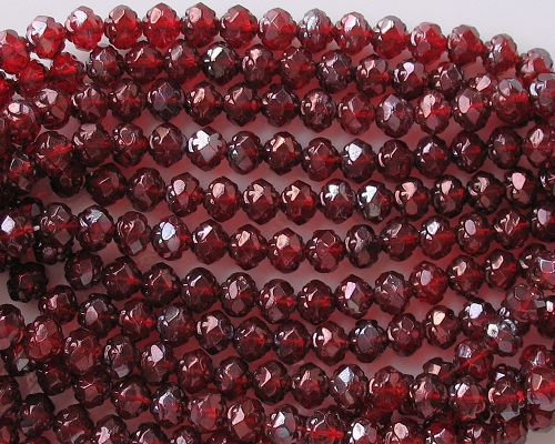 5x6mm Red Luster Rosebud Faceted Beads [50]