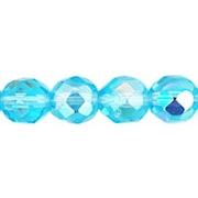 8mm Light Aqua AB Faceted Round Beads [50]