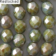 8mm Green Mottled Luster Faceted Beads [25]