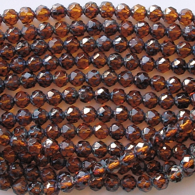 6mm Topaz Picasso Faceted 'Renaissance' Beads [50]