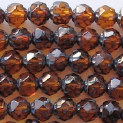 6mm Topaz Picasso 'Renaissance' Faceted Beads [50]