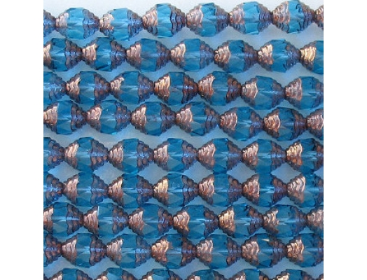 10mm Aqua/Bronze Cathedral Faceted Beads [20]