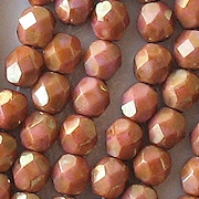 6mm Pink/Topaz Luster Faceted Round Beads [50]