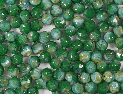 8mm Green/Aqua Picasso Faceted Baroque Beads [25]