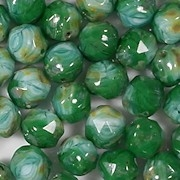 8mm Green/Aqua Picasso Baroque Faceted Beads [25]