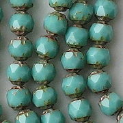 6mm Turquoise Picasso Faceted 'Renaissance' Beads [50] (see Comments)