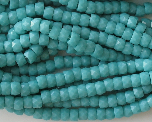 4x6mm Turquoise Faceted Pony Beads [50]