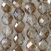 8mm Clear/Bronze Luster Faceted Round Beads [50]