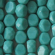 8mm Turquoise Faceted Thick Coin Beads [20]