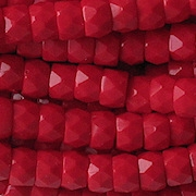 4x6mm Opaque Red Faceted Pony Beads [50]