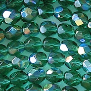 6mm Emerald-Teal AB Faceted Round Beads [50]