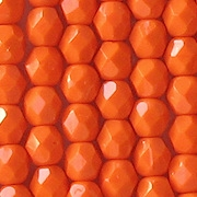 6mm Opaque Orange Faceted Round Beads [50]